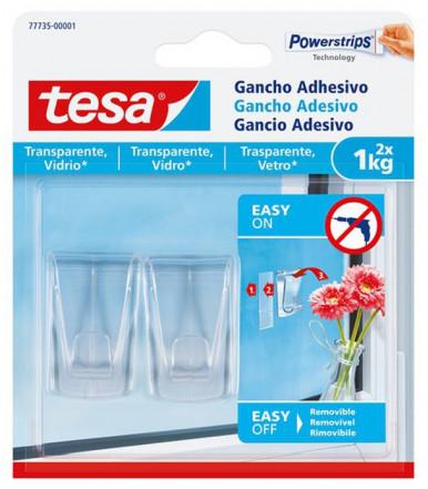 Ganci adesivi per superfici trasparenti e vetro Powerstrips Tesa