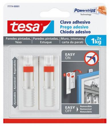 Tesa Verstellbarer Klebenagel weiß für Tapeten und Putz 1 kg