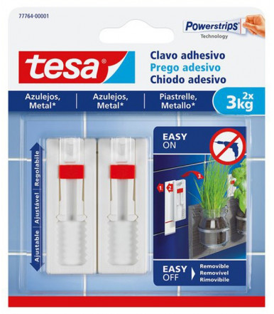 Tesa Adhesive Adjustable Nail white for tiles and metal 3 kg