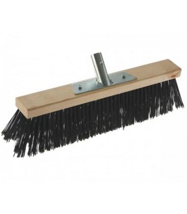 Outdoor industrail broom with wooden plate, 80 cm