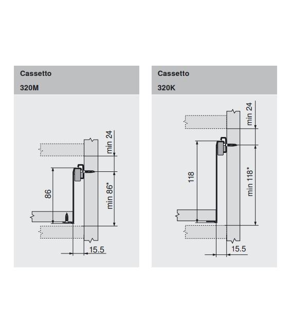 Cassetto Metabox Blum in acciaio verniciato