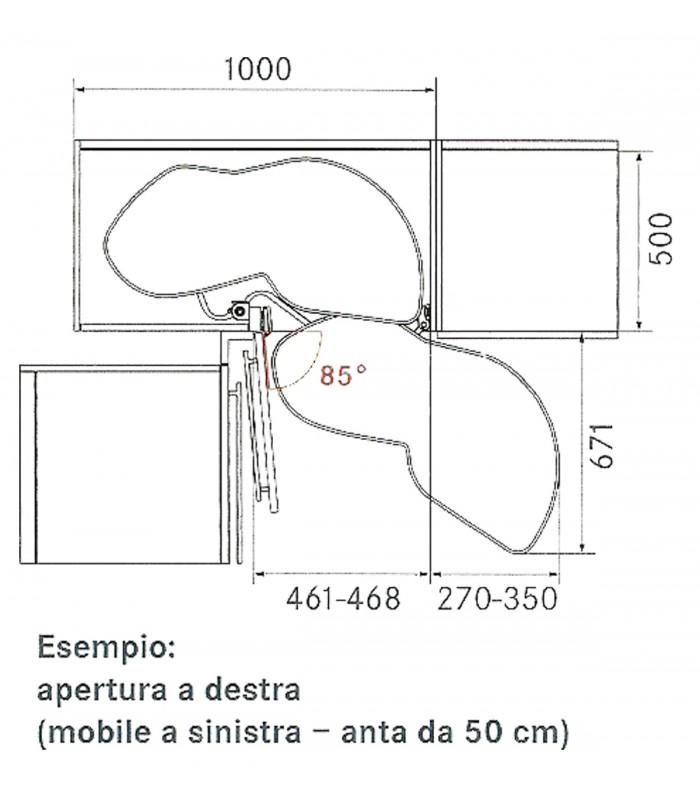 Cestello Girevole Per Mobile Base Ad Angolo.Set 2 Ripiani Estraibili E Orientabili Per Angolari Lemans Ii