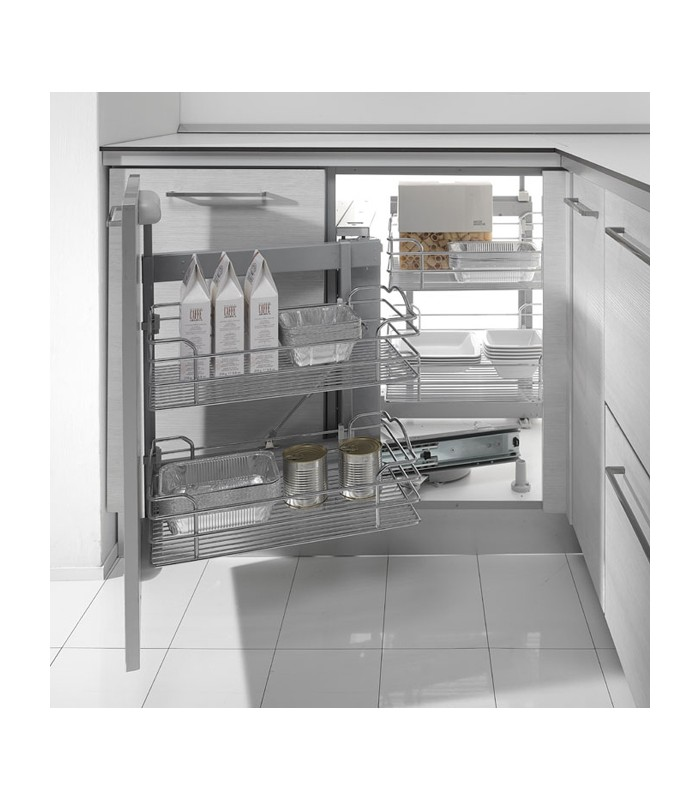Mechanism With Trays Swing For Corner Cabinets Inoxa Dynamic