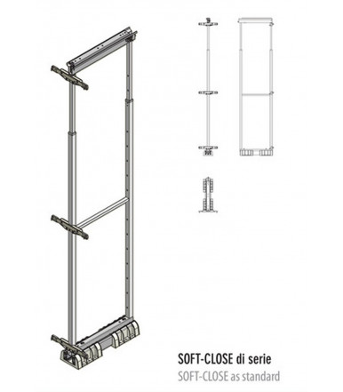 Extractable column mechanism with telescopic guide rail Inoxa 850A