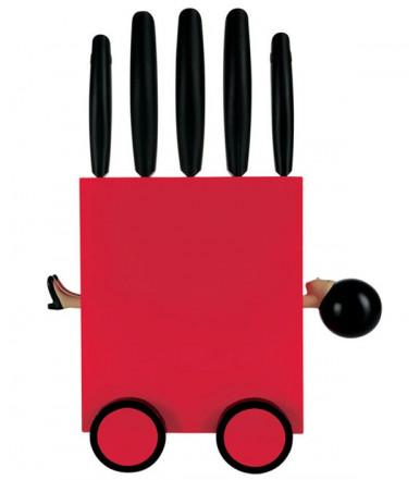"""Juego de 5 cuchillos con base """"Magic Box"""" rojo"""