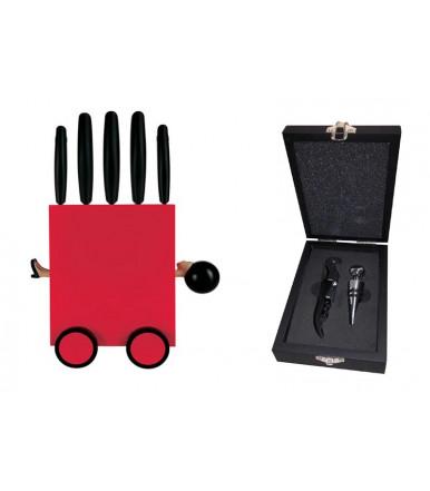 Block mit 5 Küchenmessern + Wein Set mit Metallkappe und Flaschenöffner Flasche