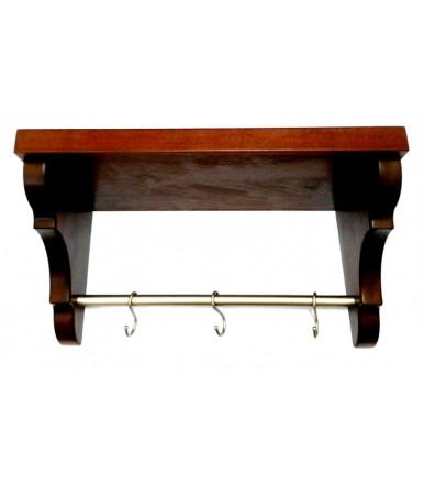 Kitchen mahogany rack with bar and hooks