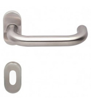 Lever handle on oval rose and escutcheon for door inox OLARIX