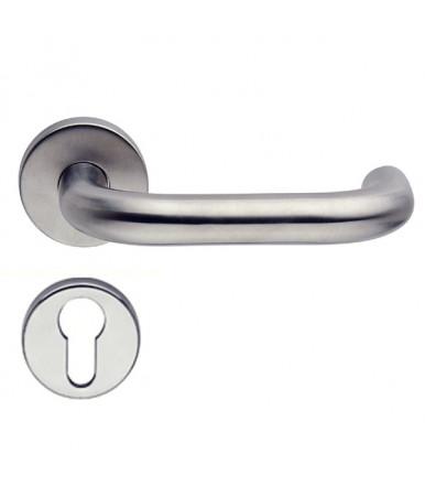 Lever handle with rose and escutcheon for door inox OLARIX