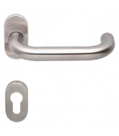 Lever handle on oval rose and escutcheon for door inox OLARIX