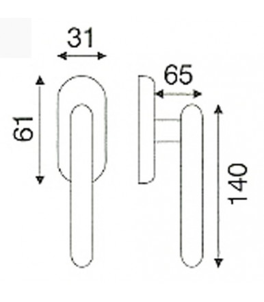 Fenstergriff DK aus Edelstahl mit ovale Rosette OLARIX