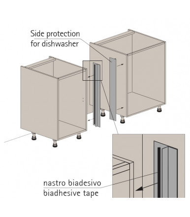 Volpato Set protection side dishwasher 720 mm in aluminium anodized 40/78.2000.72P