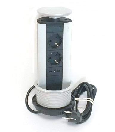EVOline tower power strip extractable Port ITALY, 2 schuko + 1 italian sockets