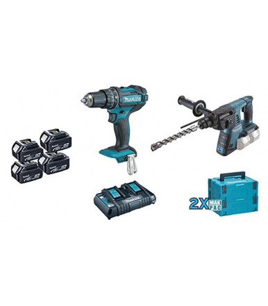 Makita Combo Kit Drill driver c/percussion Combined rotary hammer Angular grinder 3 batteries 5Ah DLX2137PTJ