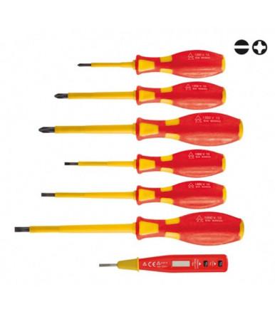 Valex Juego 7 destornilladores aislados 1000V con probador destornillador Professional Line