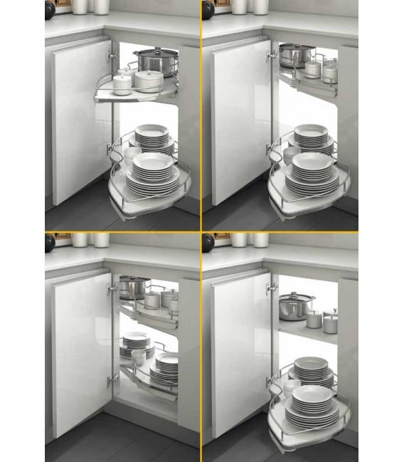 Meccanismo 845BE/45 Combi's set 2 ripiani estraibili e orientabili per angolo base Inoxa Serie Ellite
