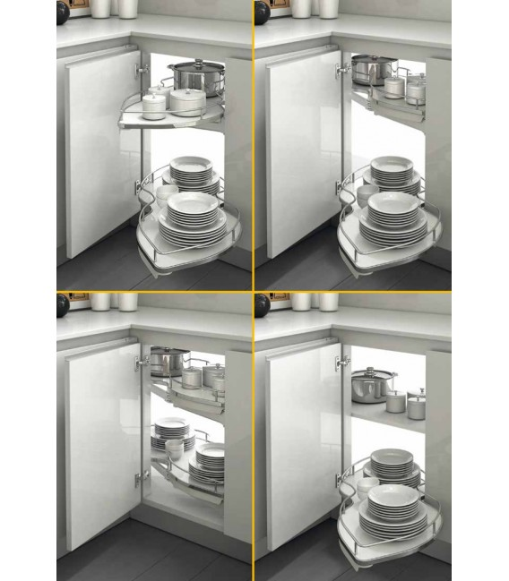 Meccanismo 845BE/60 Combi's set 2 ripiani estraibili e orientabili per angolo base Inoxa Serie Ellite