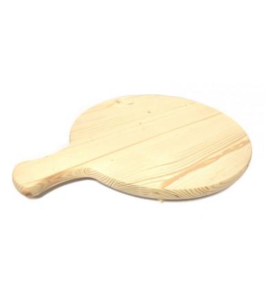 Tagliere massiccio tondo con manico da portata in legno