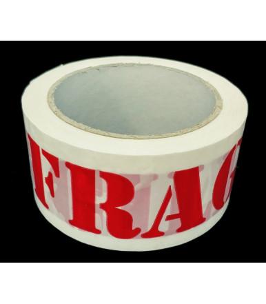 """Cinta adhesiva blanca en polipropileno para embalaje con """"FRAGILE"""" 66 mt"""