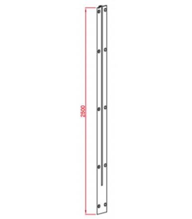 Straghtening rods couple 2500 mm for panels max. 20 mm Art. 221/A/2B