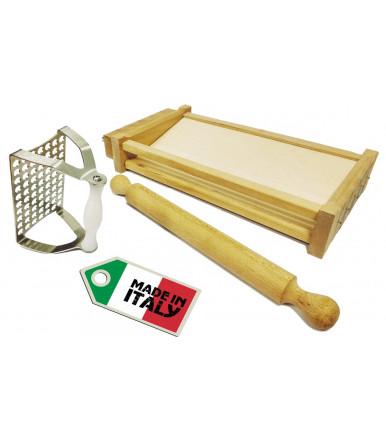 Kit tre Utensili da cucina stampo per polpettine + chitarra tagliapasta + mattarello liscio