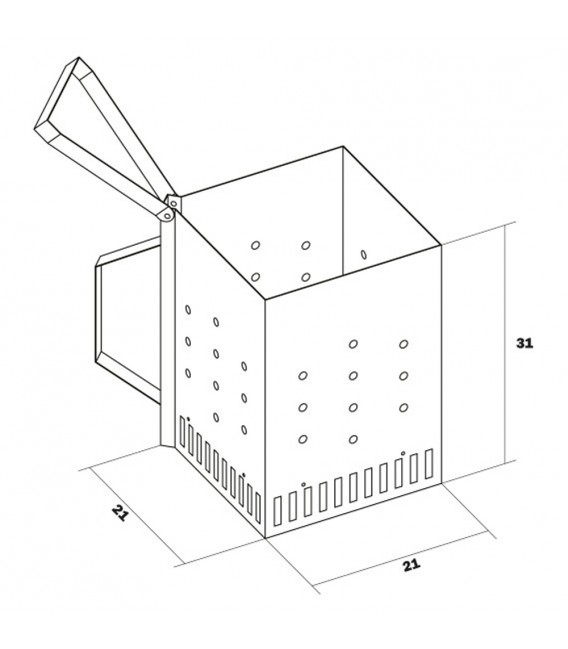 Caminetto ciminiera accendicarbone Inox quadrato