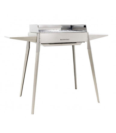 Barbecue Inox piedi smontabili con mensole e griglia 60 cm x 40 cm