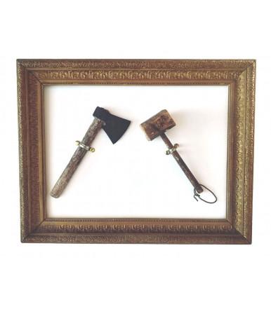 Antica coppia di accetta + mazzetta da falegname