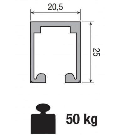 Binario in alluminio forato Koblenz 0200/100 Mt 1