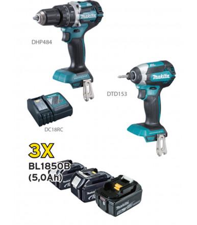 Kit combo Trapano avvitatore c/percussione + Trapano avvitatore a massa battente 3 batterie da 5Ah Makita DLX2180TJ1SP