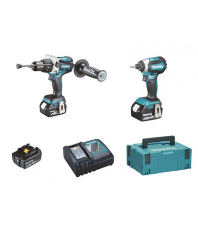 Makita Combo Kit Drill driver c/percussion + Impact driver 3 batteries 5Ah DLX2174TJ1