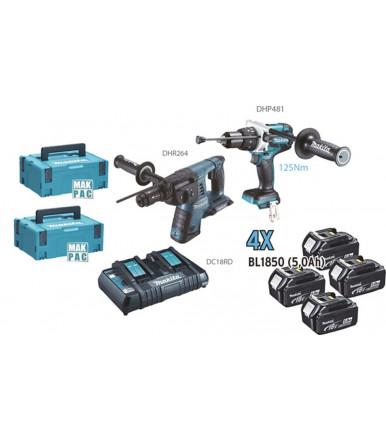 Kit combo Trapano avvitatore c/percussione Tassellatore combinato 4 batterie da 5Ah Makita DLX2101PTJ