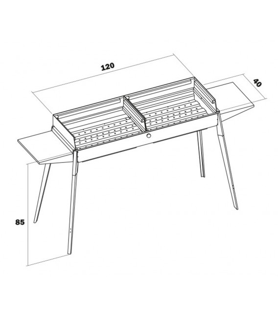 Maxi Barbecue Inox, removable feet, shelves and grills with two cooking areas 60 cm x 40 cm