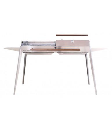 Maxi Barbecue Edelstahl, abnehmbare Füße, Regalen und Raster mit zwei Kochfeldern 60 cm x 40 cm