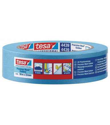 Tesa Precision Mask Outdoor Professional Waterproof masking tape for precise and flat paint edges outdoors, 25 mm x 50 mt