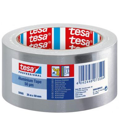 Tesa Professional PV1 Cinta de aluminio de 50 micras con protector, 50 mm x 25 mt