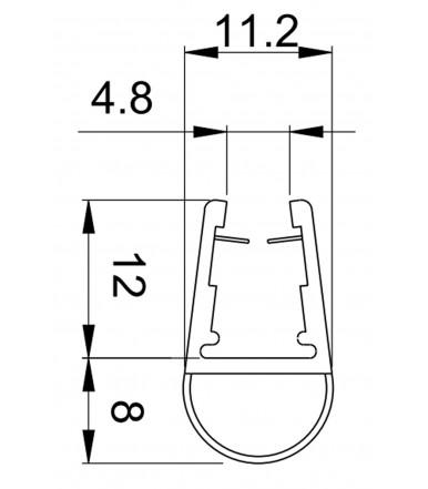 Perfil de goma para cabina de ducha, grosor del vidrio 6-8 mm, longitud 2200 mm 8PT8-10