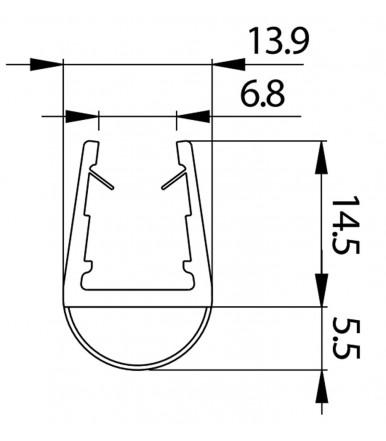 Perfil de goma para cabina de ducha, grosor del vidrio 8-10 mm, longitud 2500 mm 8PT1-10