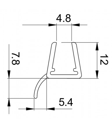 Profilo guarnizione deviatore per box doccia spessore vetro 6-8 mm, lunghezza 2200 mm 8PT8-20