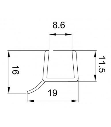 Profilo guarnizione deviatore per box doccia spessore vetro 10 mm, lunghezza 2500 mm 8PT1-20