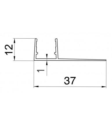 Perfil-cruce desviador para cabina de ducha, grosor del vidrio 8-10 mm, longitud 2200 mm 8PT8-25