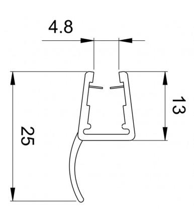 Profilo guarnizione deviatore 180° per box doccia spessore vetro 6-8 mm, lunghezza 2200 mm 8PT8-30