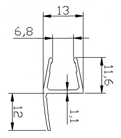 Perfil-cruce desviador 180° para cabina de ducha, grosor del vidrio 8-10 mm, longitud 2500 mm 8PT1-30