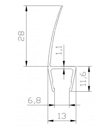 Profilo guarnizione deviatore antischiacciamento per box doccia spessore vetro 8-10 mm, lunghezza 2500 mm 8PT1-33