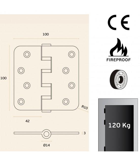 Hinge inox with round corners - fire proof art. IN.05.021.100.R.CF JNF