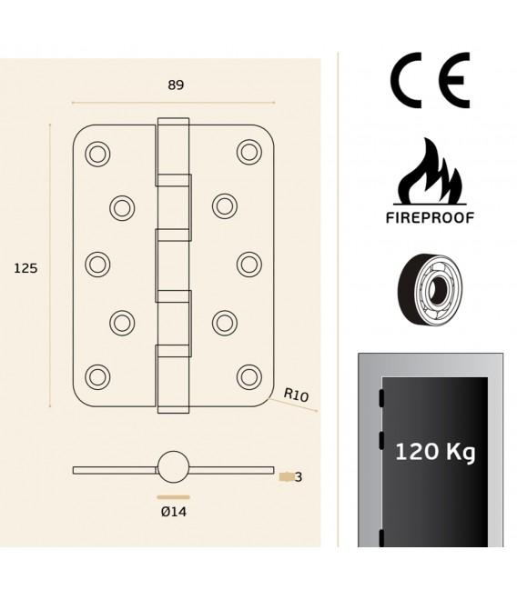Cerniera di sicurezza inox con angoli rotondi - protezione antincendio art. IN.05.020.125.R.CF JNF