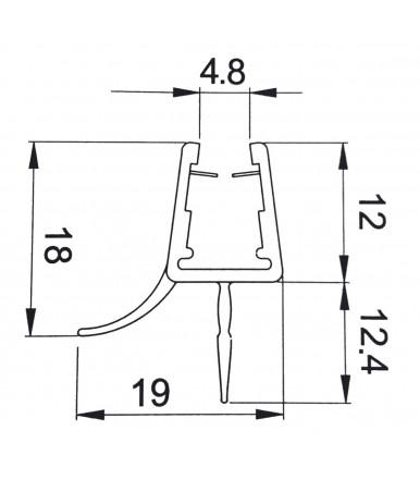 Doppelt Anschlagdichtungen für Duschkabine, Glasstärke 6-8 mm, Länge 2200 mm 8PT8-35