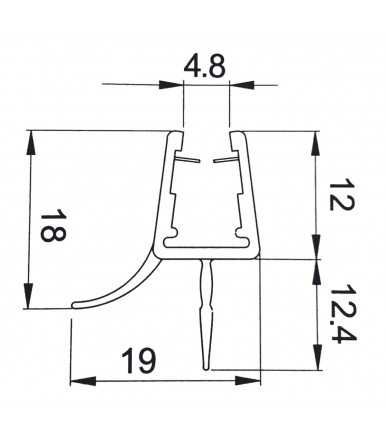 Double diverting profile-seal for shower box, glass thickness 6-8 mm, length 2200 mm 8PT8-35