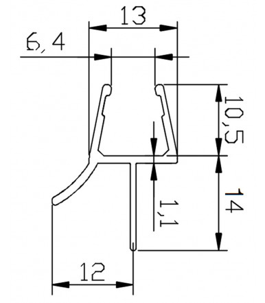 Perfil-cruce con doble desviador para cabina de ducha, grosor del vidrio 8-10 mm, longitud 2500 mm 8PT1-35