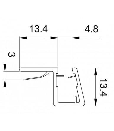 Profilo guarnizione battuta 90° per box doccia spessore vetro 6-8 mm, lunghezza 2200 mm 8PT8-40